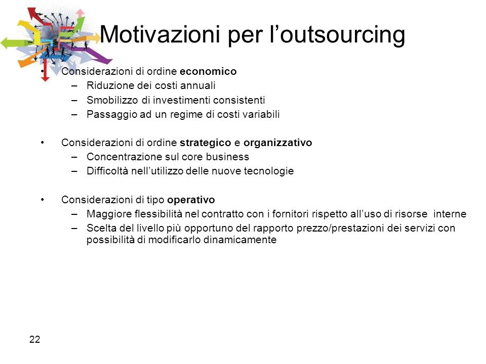 Motivazioni per l'outsourcing