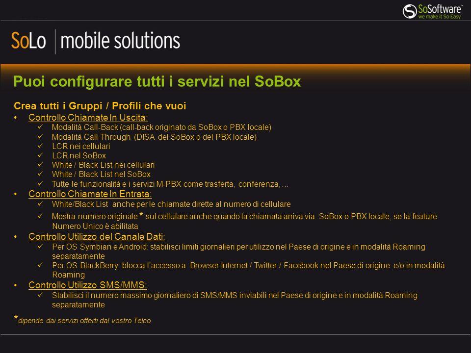 Puoi configurare tutti i servizi nel SoBox