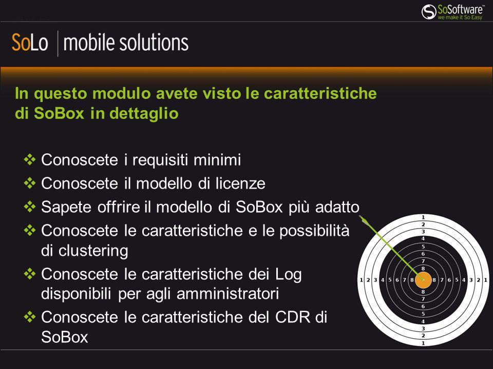 In questo modulo avete visto le caratteristiche di SoBox in dettaglio