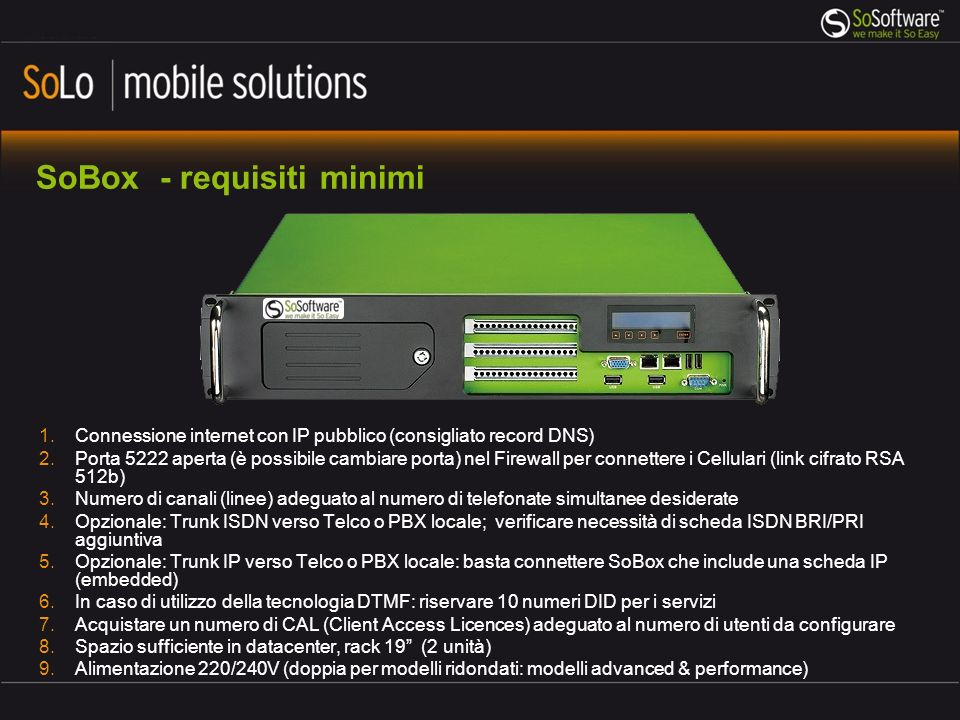 SoBox - requisiti minimi