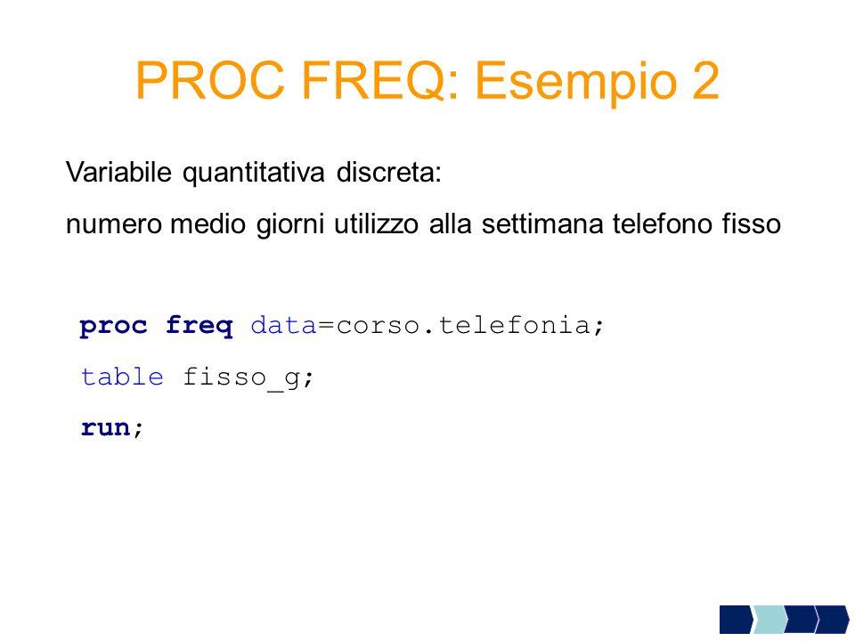PROC FREQ: Esempio 2 Variabile quantitativa discreta: