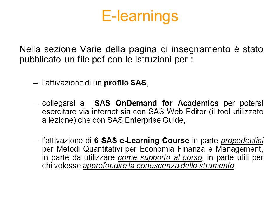 E-learnings Nella sezione Varie della pagina di insegnamento è stato pubblicato un file pdf con le istruzioni per :