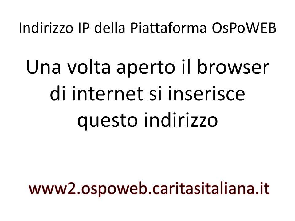 Indirizzo IP della Piattaforma OsPoWEB