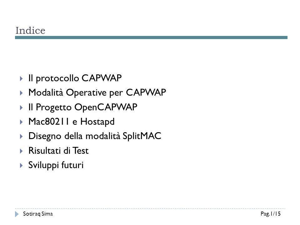 Modalità Operative per CAPWAP Il Progetto OpenCAPWAP