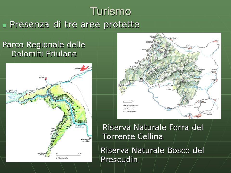 Turismo Presenza di tre aree protette