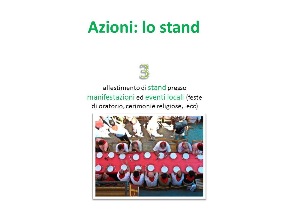 Azioni: lo stand 3.