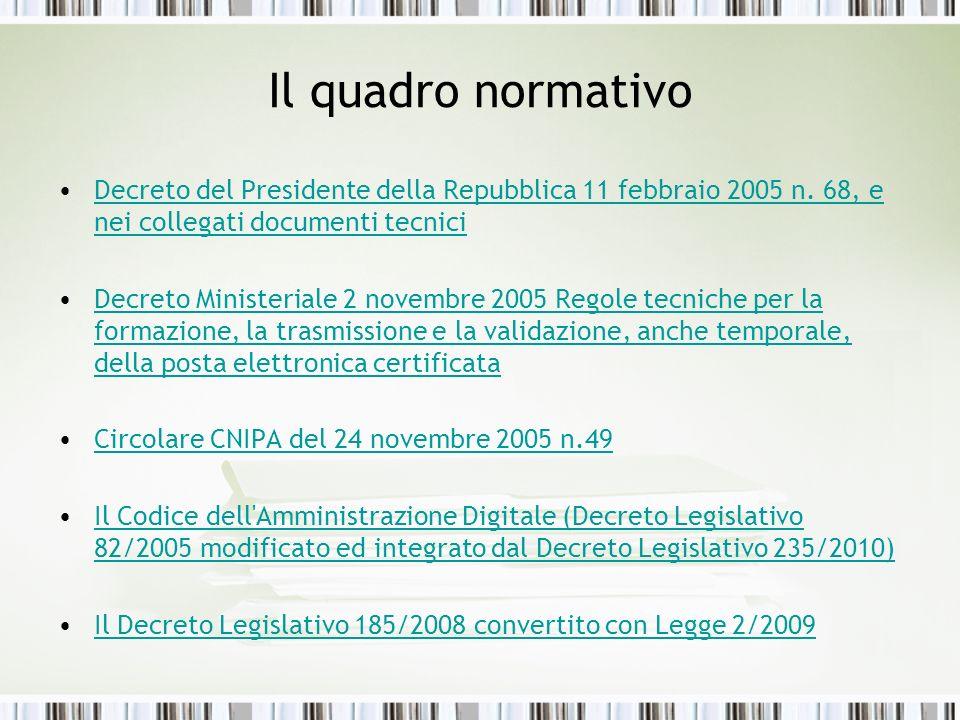 Il quadro normativo Decreto del Presidente della Repubblica 11 febbraio 2005 n. 68, e nei collegati documenti tecnici.