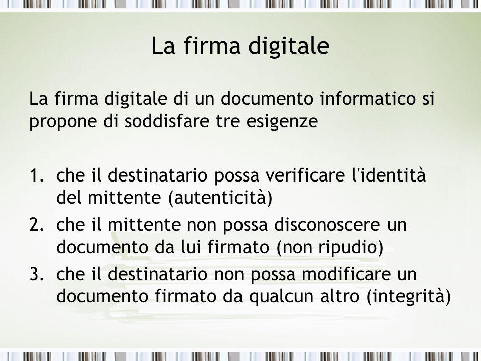 La firma digitale La firma digitale di un documento informatico si propone di soddisfare tre esigenze.