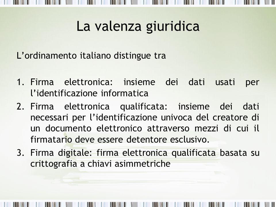 La valenza giuridica L'ordinamento italiano distingue tra