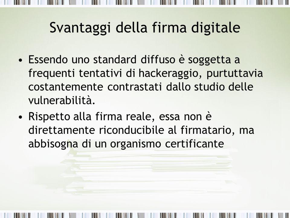 Svantaggi della firma digitale