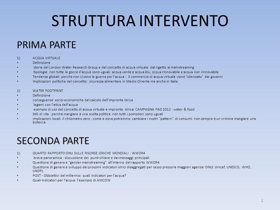 STRUTTURA INTERVENTO PRIMA PARTE SECONDA PARTE ACQUA VIRTUALE