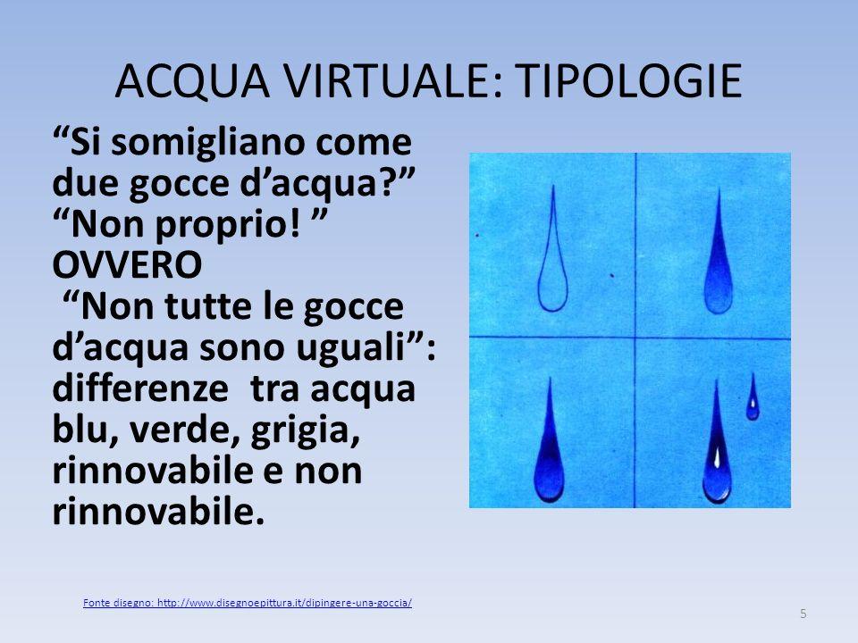 ACQUA VIRTUALE: TIPOLOGIE