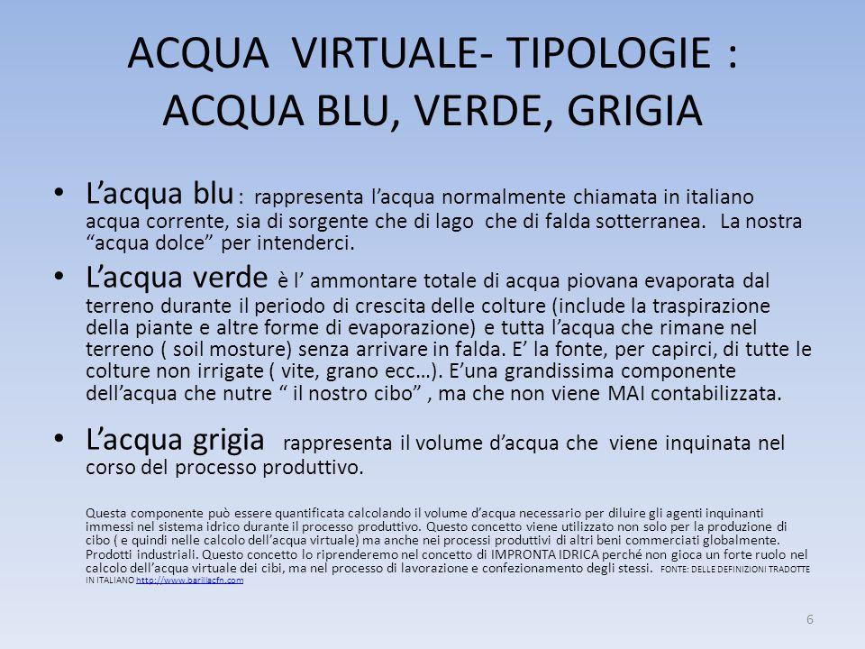 ACQUA VIRTUALE- TIPOLOGIE : ACQUA BLU, VERDE, GRIGIA