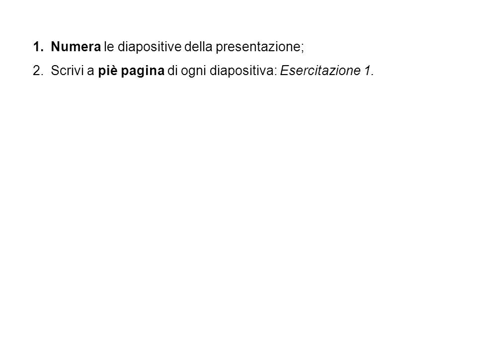Numera le diapositive della presentazione;