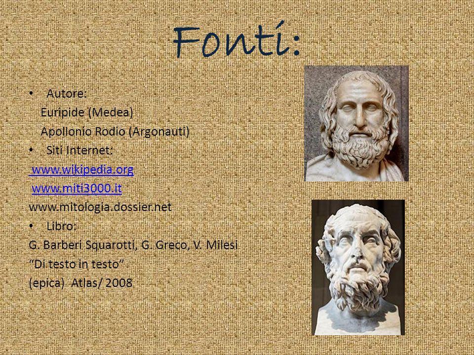 Fonti: Autore: Euripide (Medea) Apollonio Rodio (Argonauti)