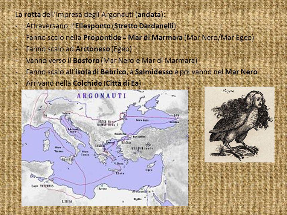La rotta dell'impresa degli Argonauti (andata):