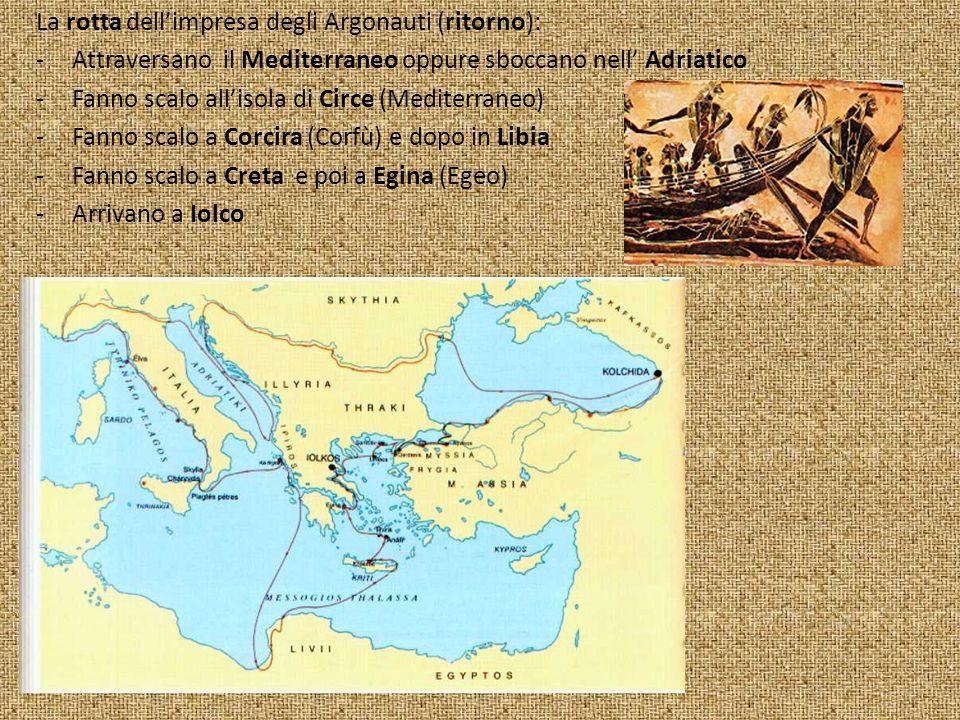 La rotta dell'impresa degli Argonauti (ritorno):