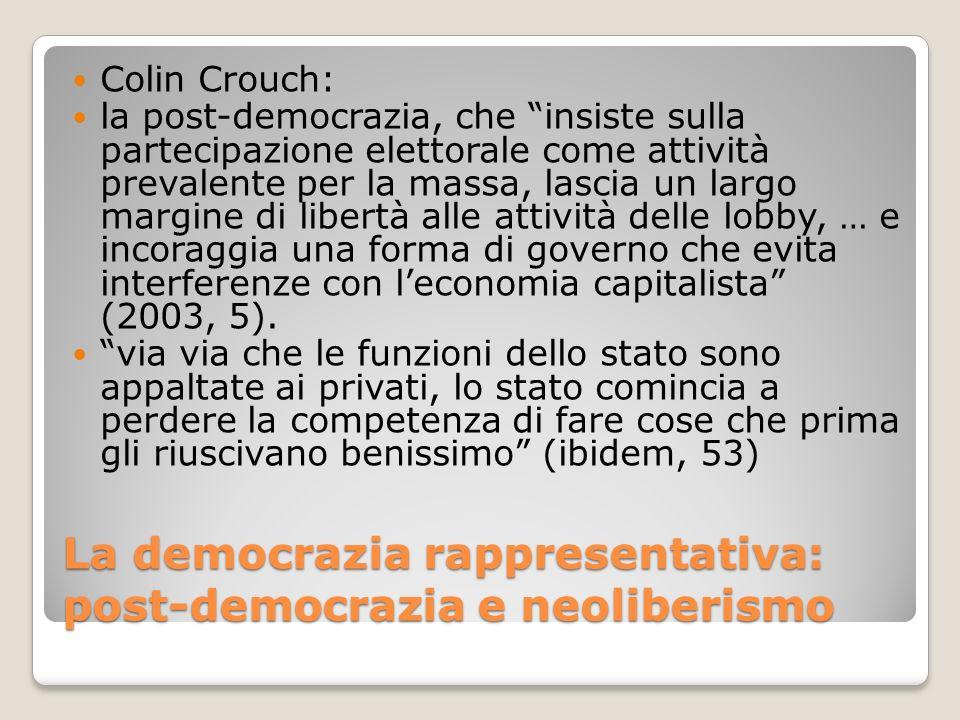 La democrazia rappresentativa: post-democrazia e neoliberismo