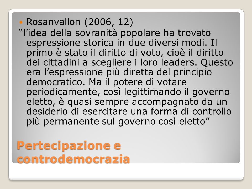 Pertecipazione e controdemocrazia