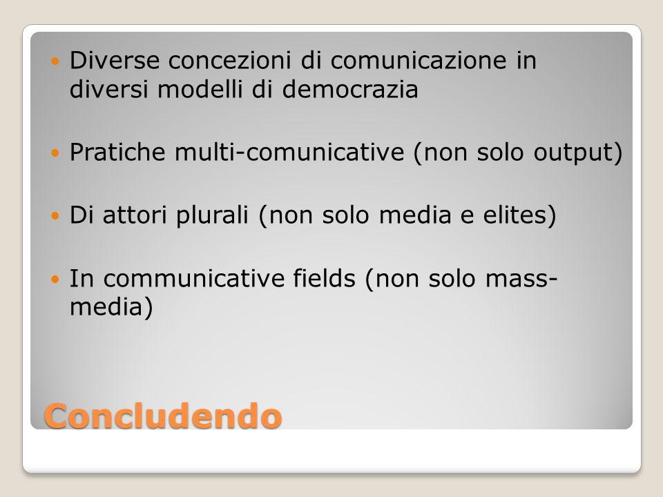 Diverse concezioni di comunicazione in diversi modelli di democrazia