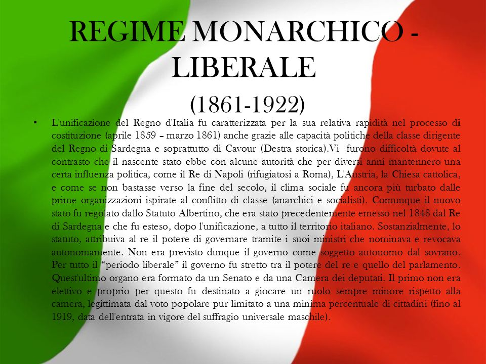 REGIME MONARCHICO -LIBERALE (1861-1922)