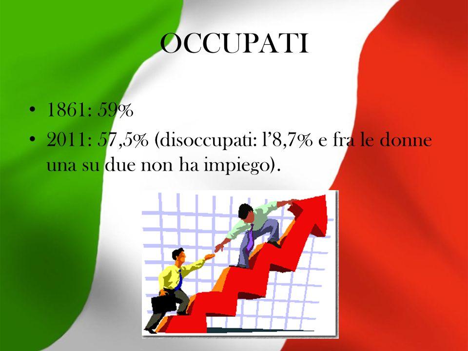 OCCUPATI 1861: 59% 2011: 57,5% (disoccupati: l'8,7% e fra le donne una su due non ha impiego).