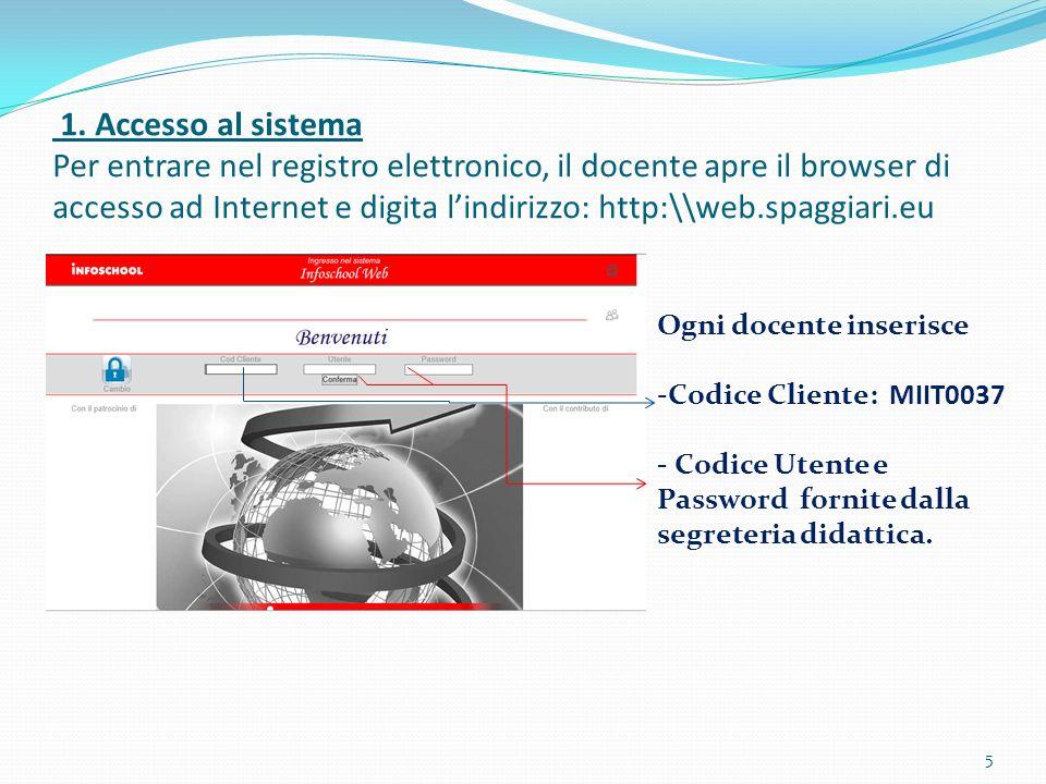 1. Accesso al sistema Per entrare nel registro elettronico, il docente apre il browser di accesso ad Internet e digita l'indirizzo: http:\\web.spaggiari.eu