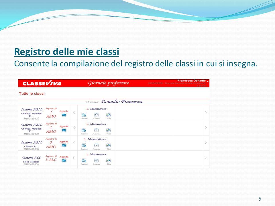 Registro delle mie classi Consente la compilazione del registro delle classi in cui si insegna.