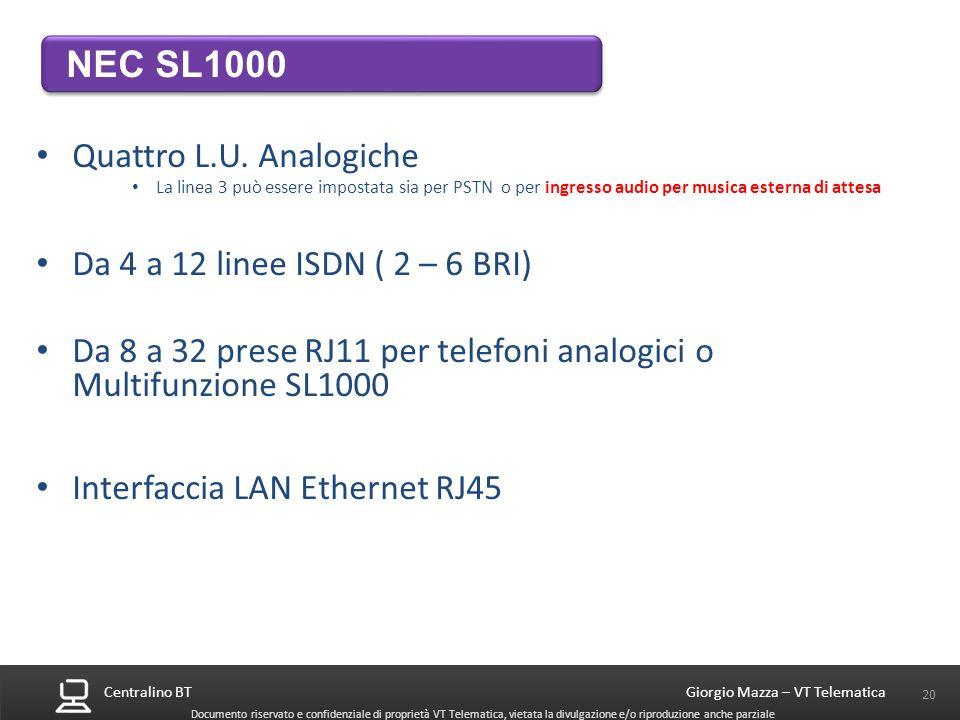 Da 8 a 32 prese RJ11 per telefoni analogici o Multifunzione SL1000