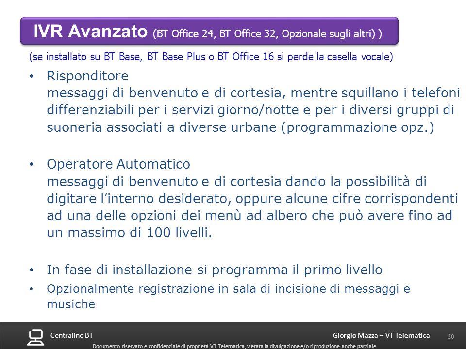 IVR Avanzato (BT Office 24, BT Office 32, Opzionale sugli altri) )