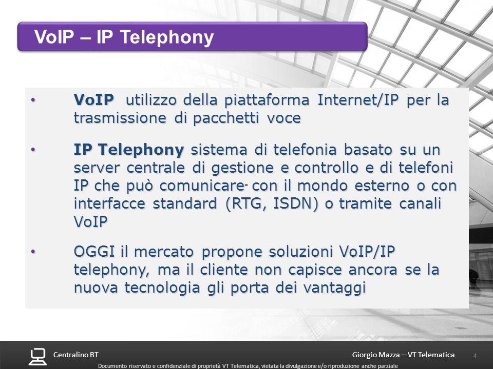 VoIP – IP Telephony VoIP utilizzo della piattaforma Internet/IP per la trasmissione di pacchetti voce.