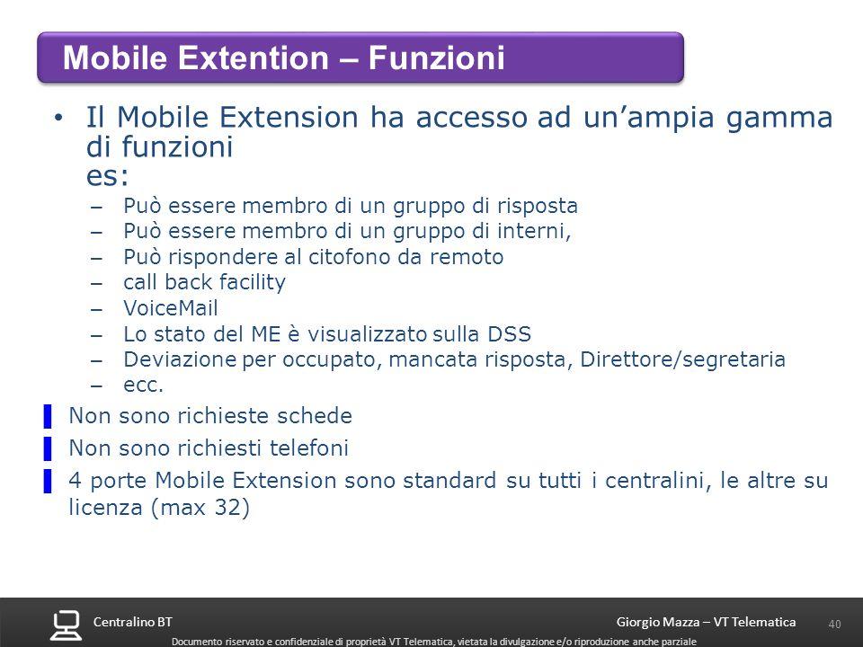 Mobile Extention – Funzioni