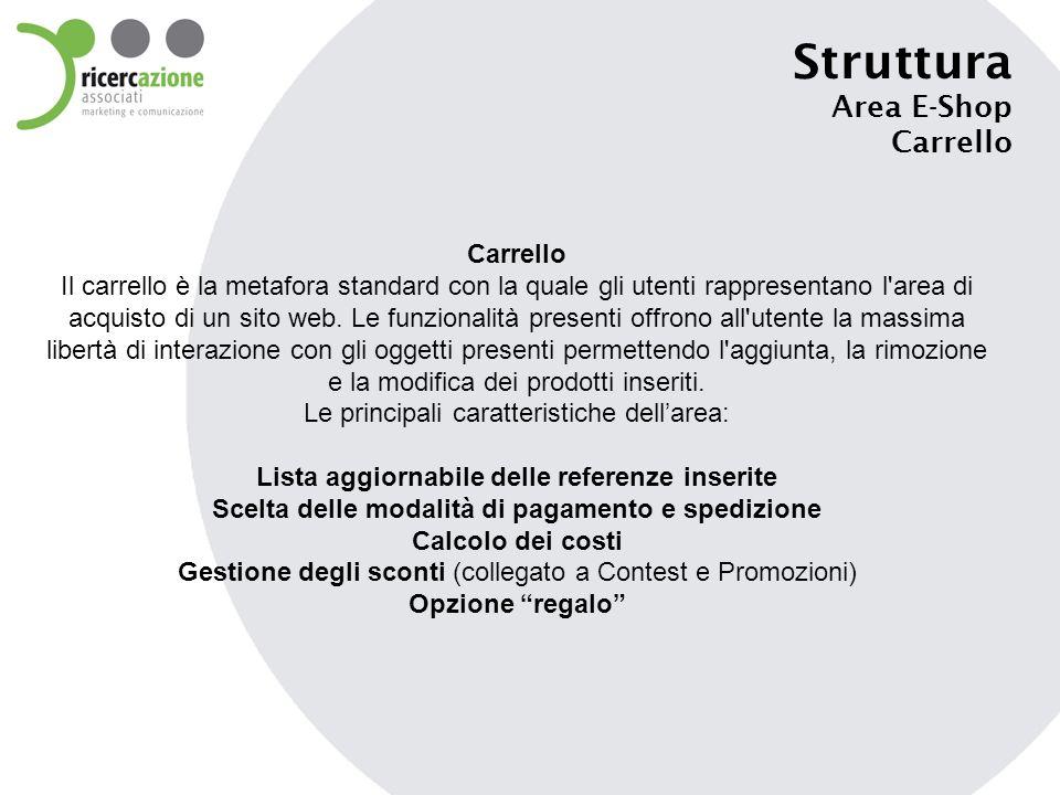 Struttura Area E-Shop Carrello Carrello