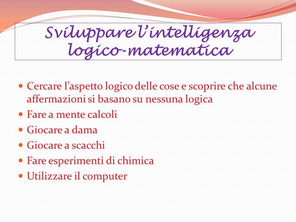 Sviluppare l'intelligenza logico-matematica