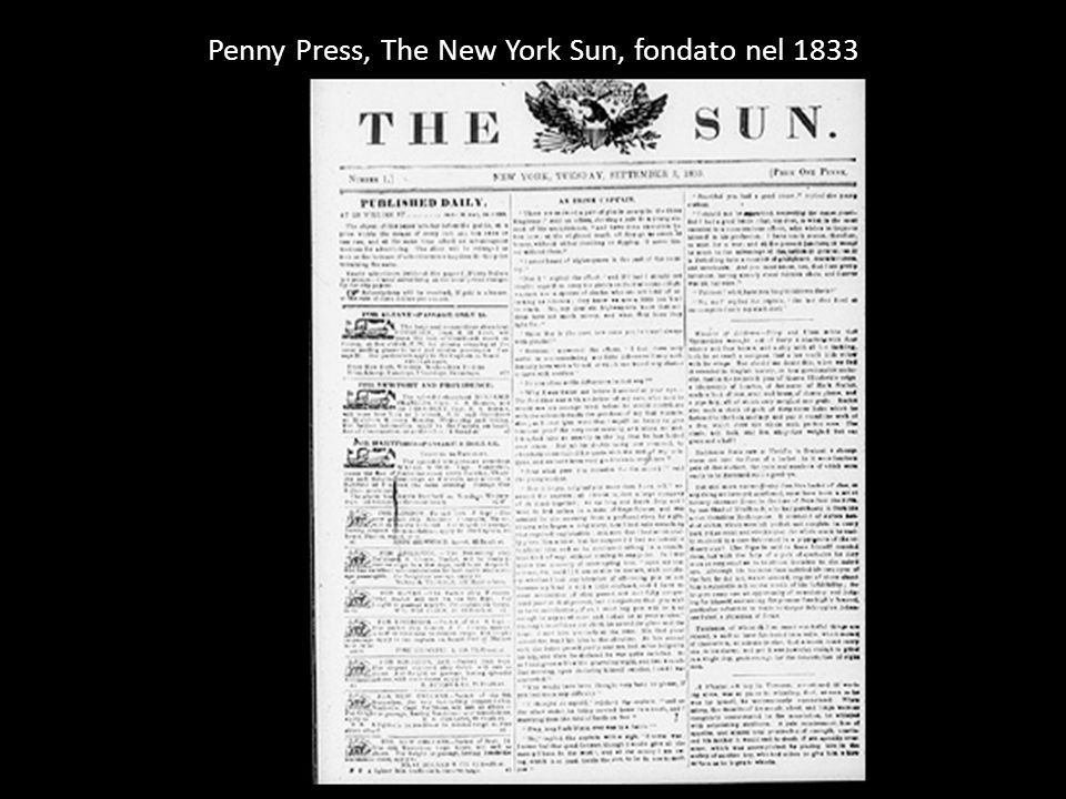 Penny Press, The New York Sun, fondato nel 1833