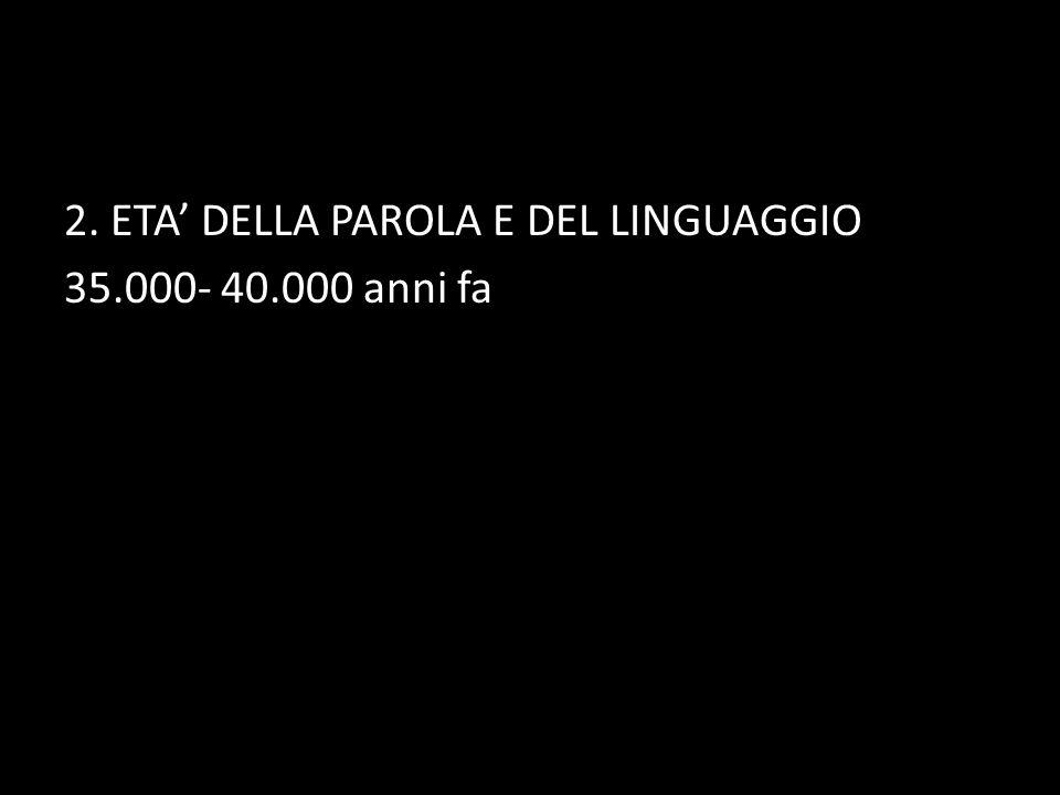 2. ETA' DELLA PAROLA E DEL LINGUAGGIO 35.000- 40.000 anni fa
