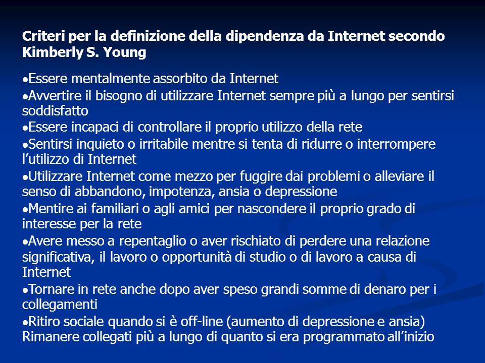 Criteri per la definizione della dipendenza da Internet secondo Kimberly S. Young