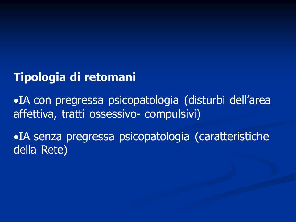 Tipologia di retomani IA con pregressa psicopatologia (disturbi dell'area affettiva, tratti ossessivo- compulsivi)