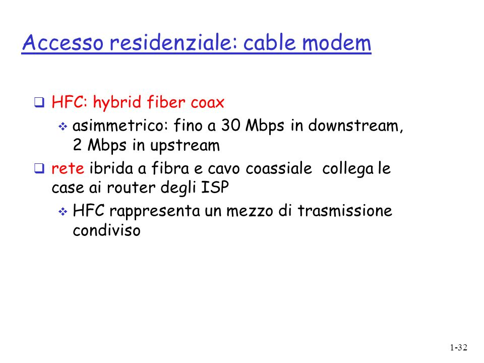 Accesso residenziale: cable modem