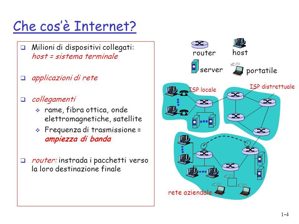 Che cos'è Internet ISP locale. rete aziendale. router. server. portatile. Milioni di dispositivi collegati: host = sistema terminale.