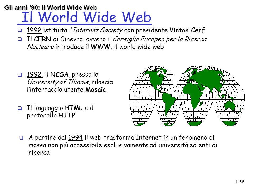 Il World Wide Web Gli anni '90: il World Wide Web