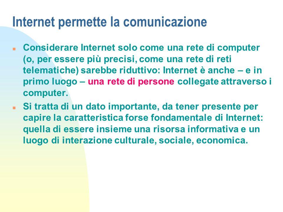 Internet permette la comunicazione