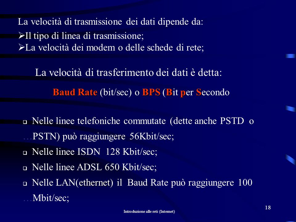 Baud Rate (bit/sec) o BPS (Bit per Secondo
