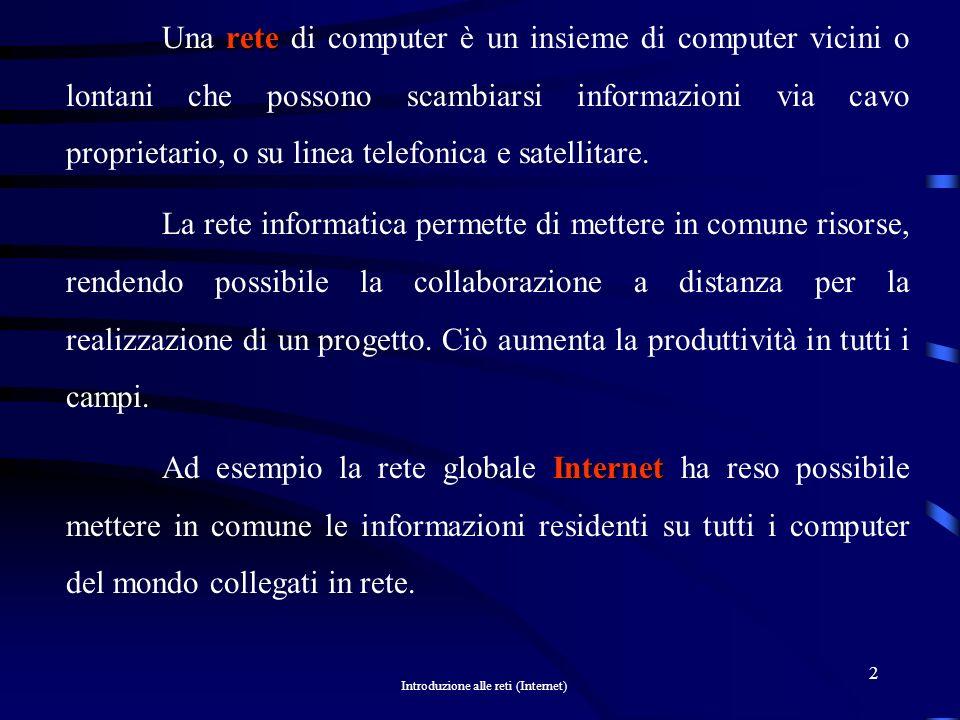 Una rete di computer è un insieme di computer vicini o lontani che possono scambiarsi informazioni via cavo proprietario, o su linea telefonica e satellitare.