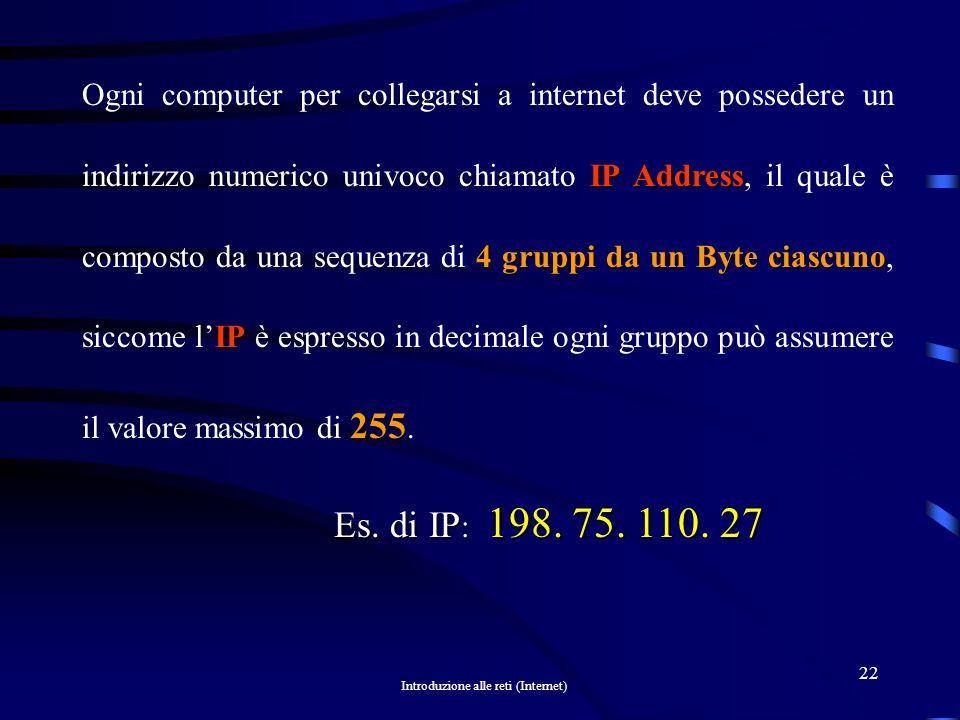 Ogni computer per collegarsi a internet deve possedere un indirizzo numerico univoco chiamato IP Address, il quale è composto da una sequenza di 4 gruppi da un Byte ciascuno, siccome l'IP è espresso in decimale ogni gruppo può assumere il valore massimo di 255.