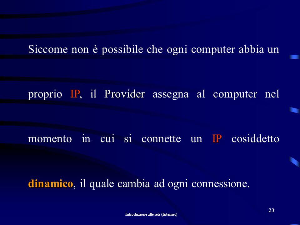 Siccome non è possibile che ogni computer abbia un proprio IP, il Provider assegna al computer nel momento in cui si connette un IP cosiddetto dinamico, il quale cambia ad ogni connessione.
