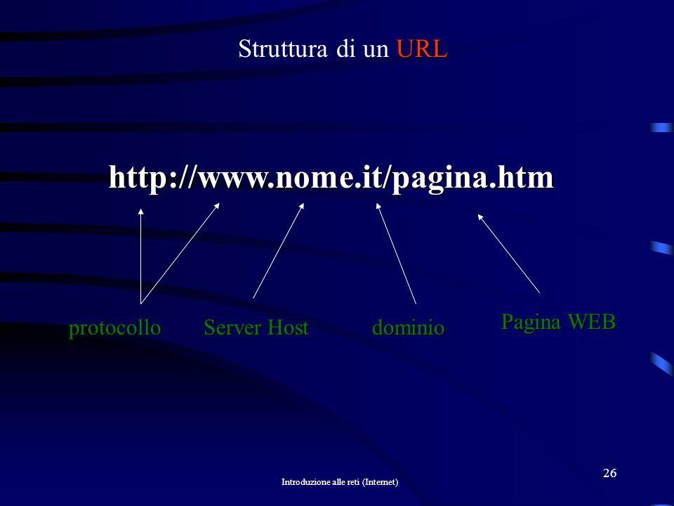http://www.nome.it/pagina.htm Struttura di un URL protocollo