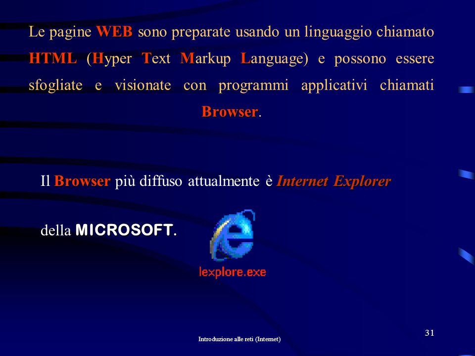 Le pagine WEB sono preparate usando un linguaggio chiamato HTML (Hyper Text Markup Language) e possono essere sfogliate e visionate con programmi applicativi chiamati Browser.