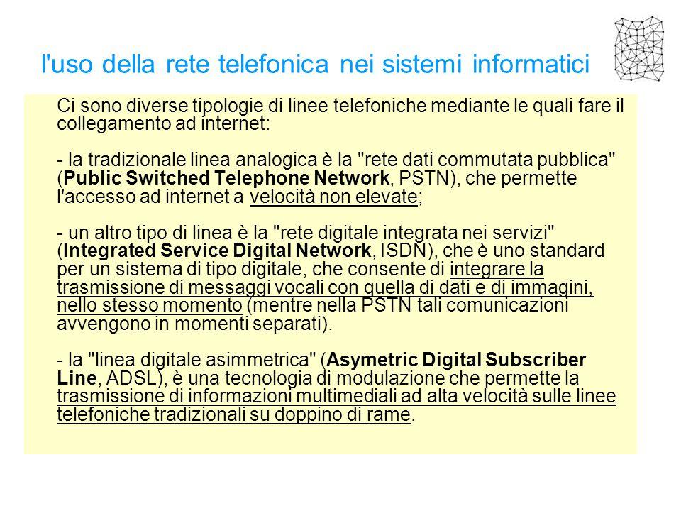 l uso della rete telefonica nei sistemi informatici