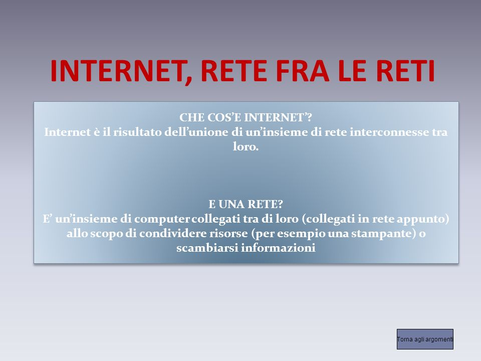 INTERNET, RETE FRA LE RETI